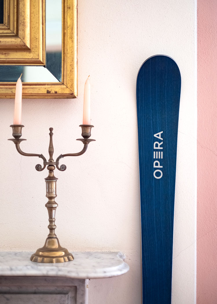 operaskis in a blue wood finish set in an old Italian villa with furnitures and artworks