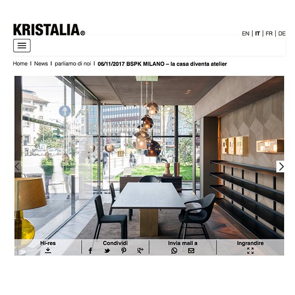 bspk atelier milano and operaskis on kristalia