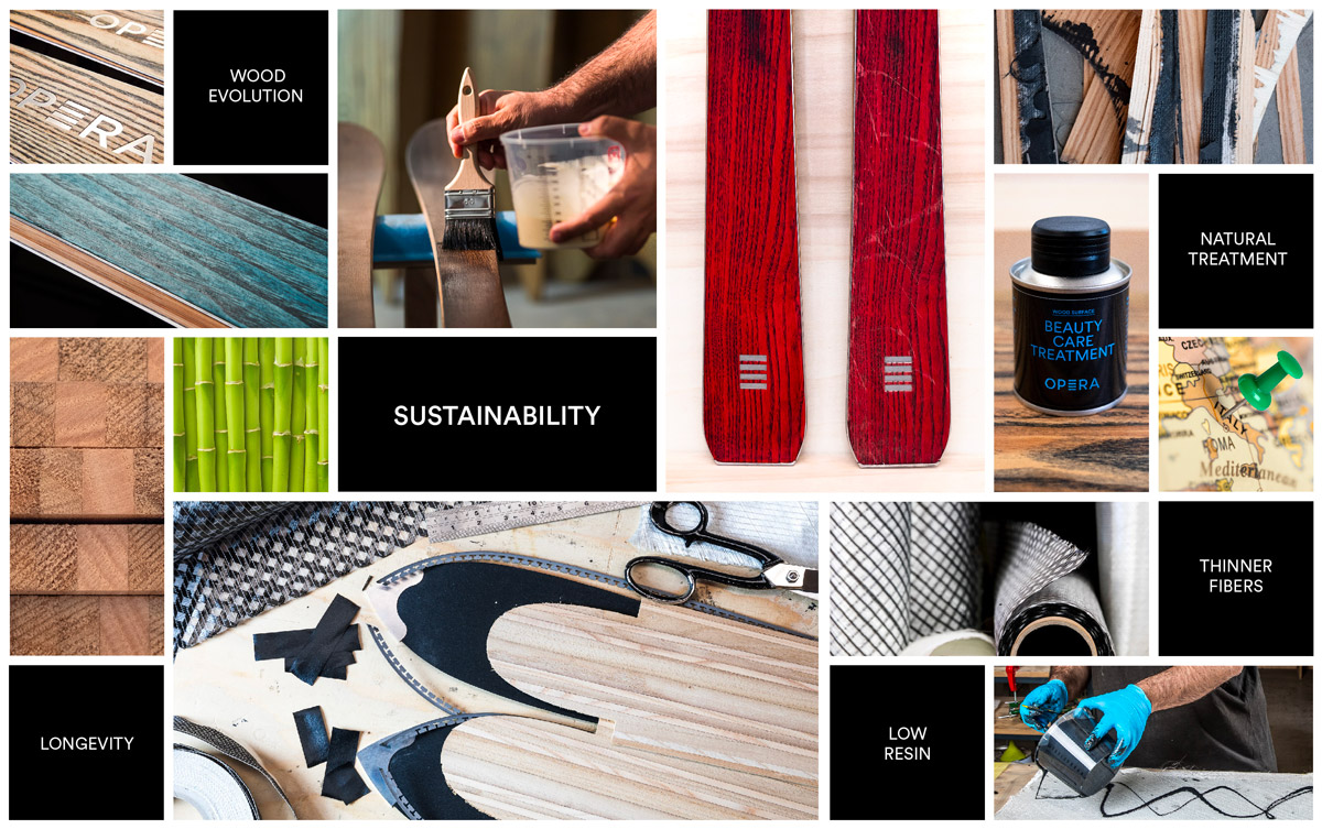 operaskis are sustainable and durable skis, handmade in wood and bamboo with a natural treatment, low resin, thinner fiber and less waste