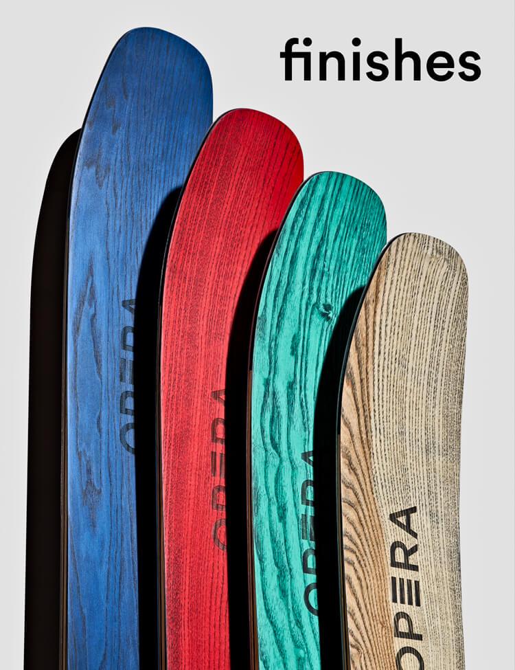 sci fatti a mano in italia di diverse finiture di legno