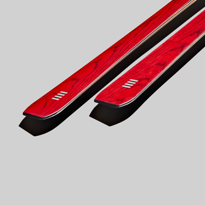 alpine race carve skis in red wood   art65   OperaSkis