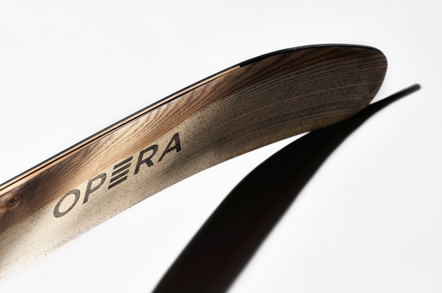 Nose of an hadcrafted wooden ski by OPERA Skis